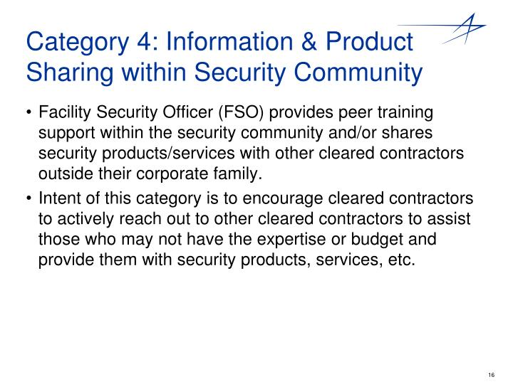 Category 4: Information & Product Sharing within Security Community