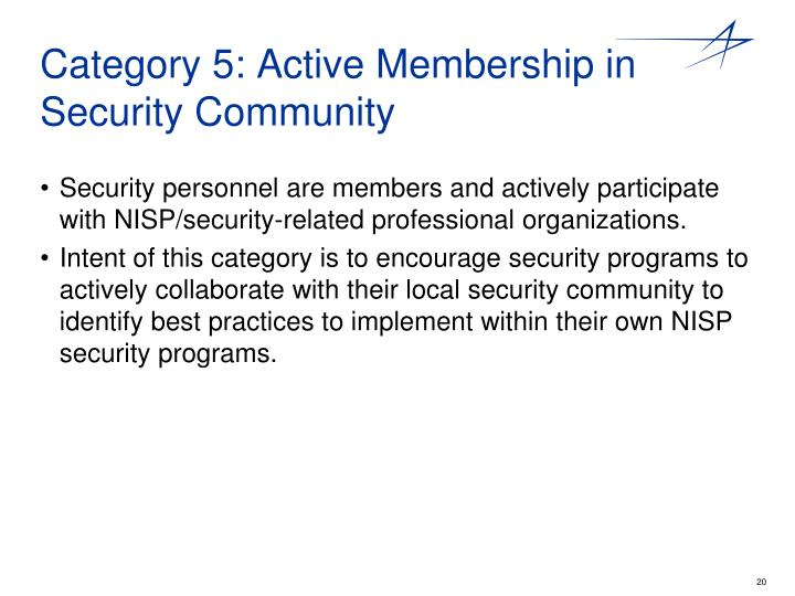 Category 5: Active Membership in Security Community