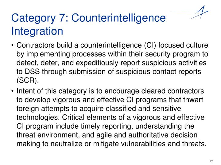 Category 7: Counterintelligence Integration