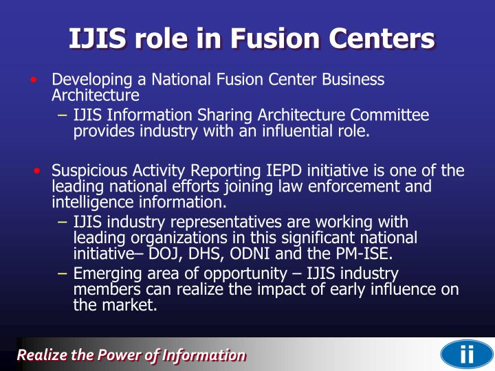 IJIS role in Fusion Centers