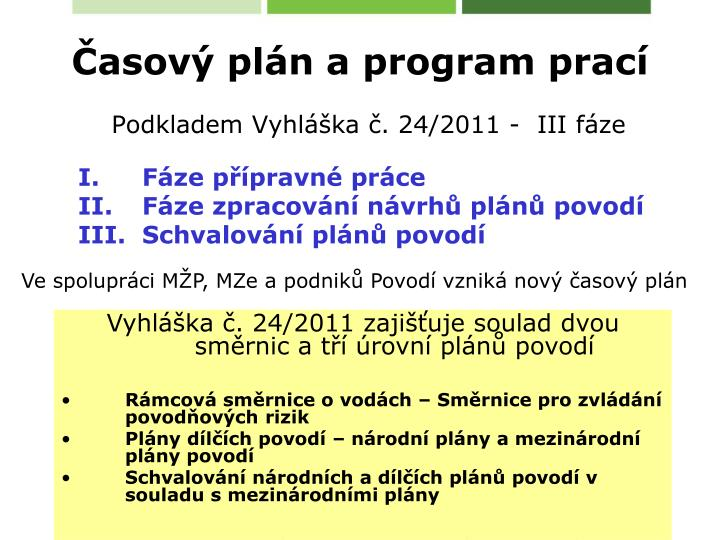 Časový plán a program prací
