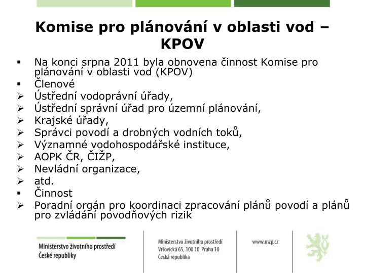 Komise pro plánování v oblasti vod – KPOV