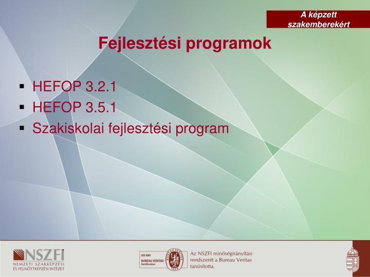 Fejlesztési programok