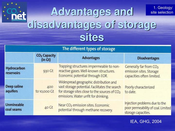 Advantages and disadvantages of storage sites