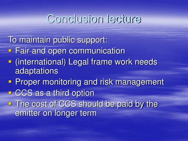 Conclusion lecture