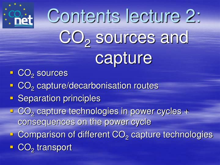Contents lecture 2: