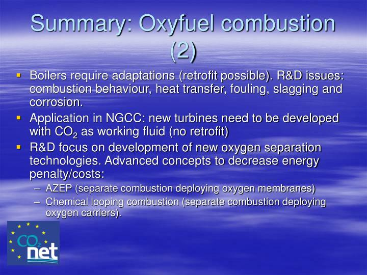 Summary: Oxyfuel combustion (2)