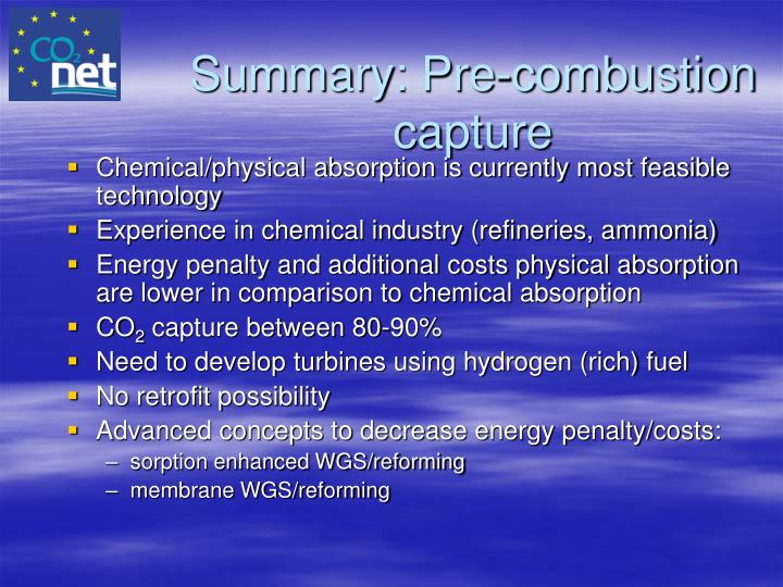 Summary: Pre-combustion capture