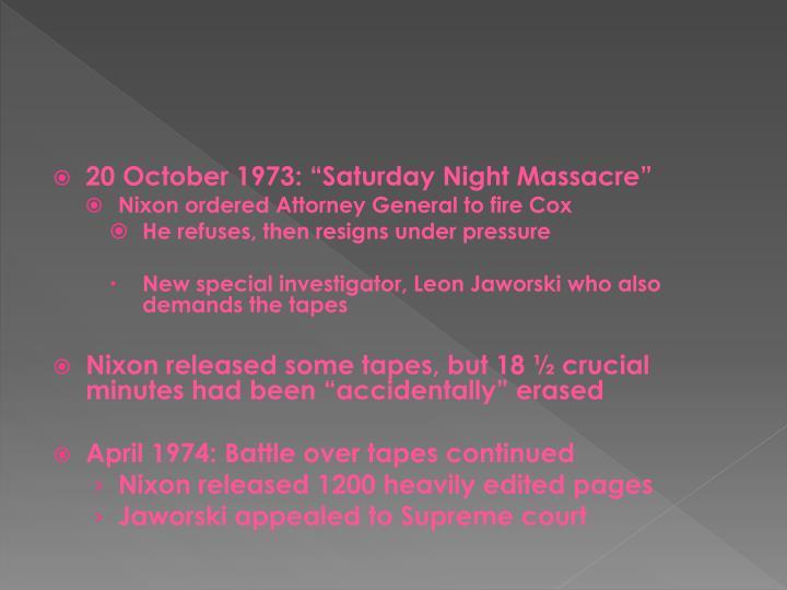 "20 October 1973: ""Saturday Night Massacre"""