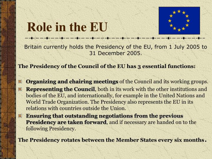 Role in the EU