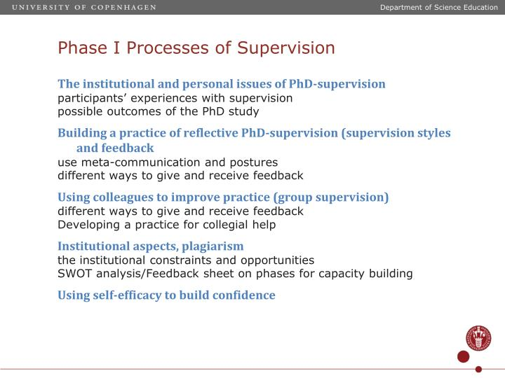 Phase i processes of supervision