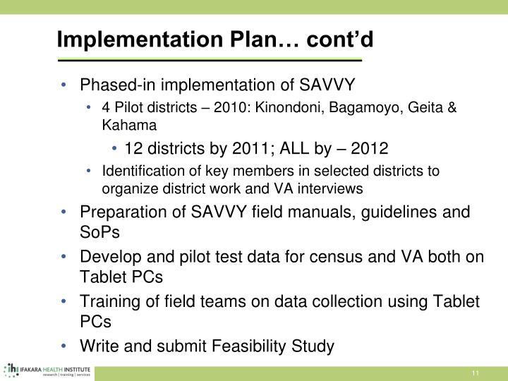 Implementation Plan… cont'd