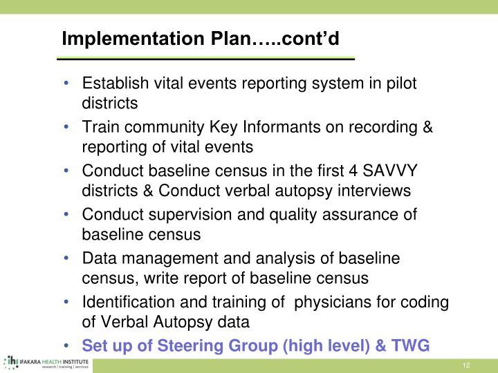 Implementation Plan…..cont'd