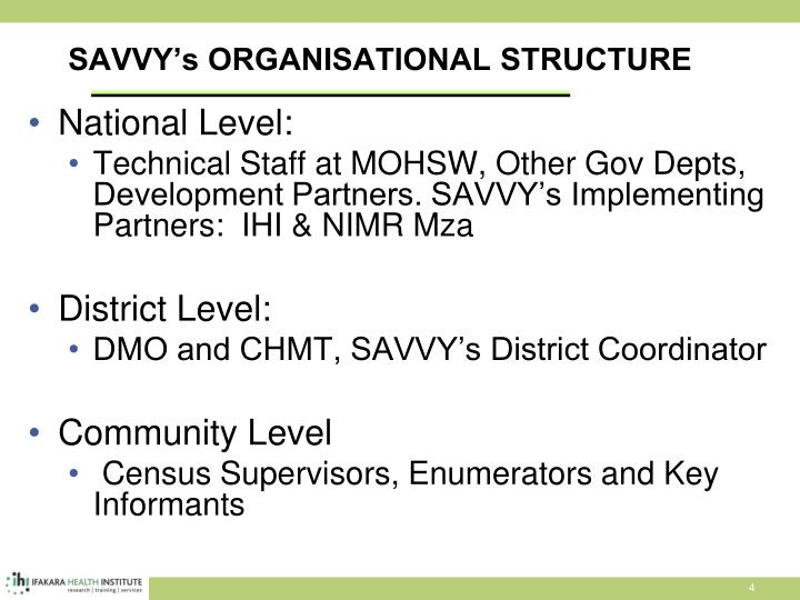 SAVVY's ORGANISATIONAL STRUCTURE
