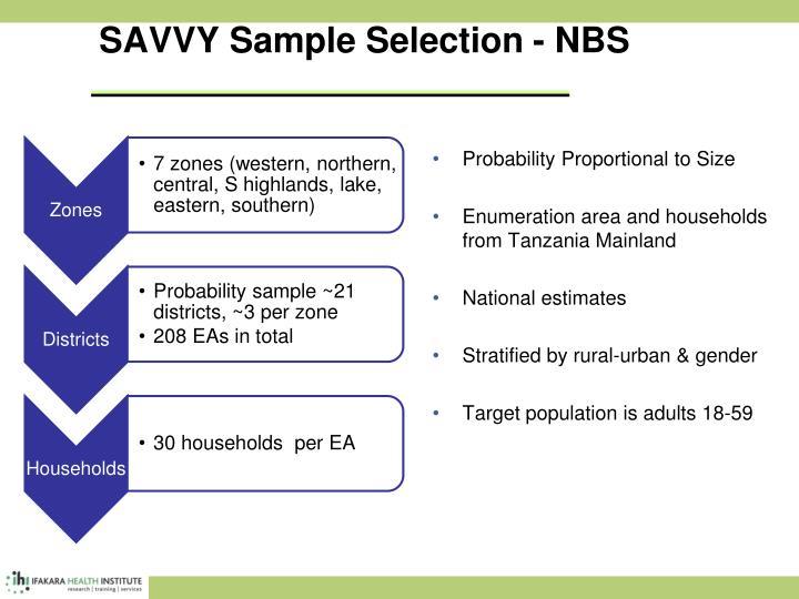 SAVVY Sample Selection - NBS