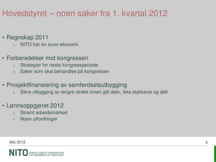 Hovedstyret – noen saker fra 1. kvartal 2012