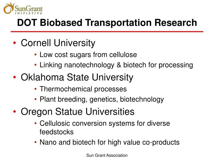 DOT Biobased Transportation Research