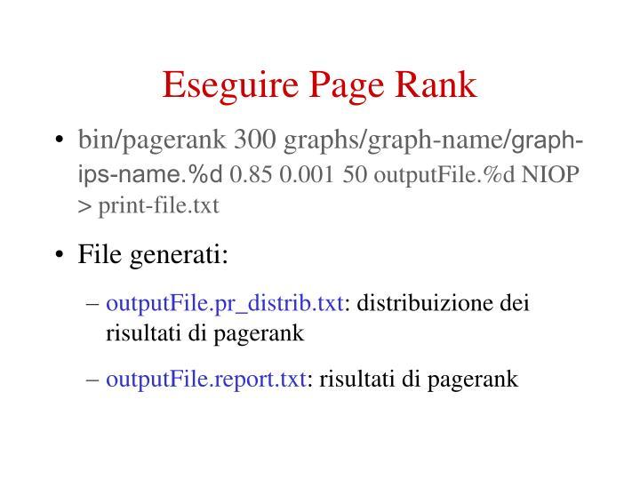 Eseguire Page Rank