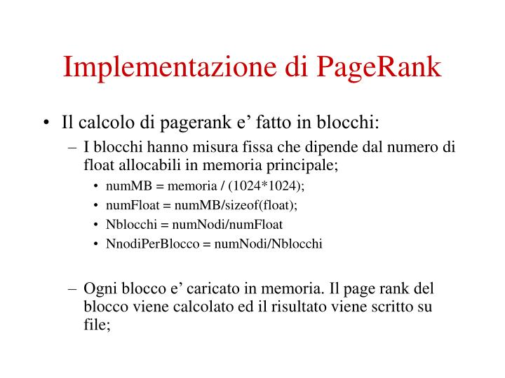 Implementazione di PageRank