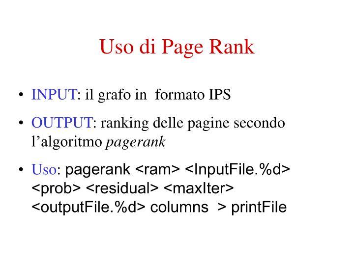 Uso di Page Rank