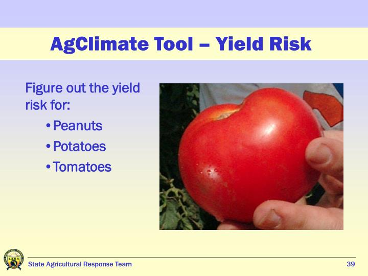 AgClimate Tool – Yield Risk