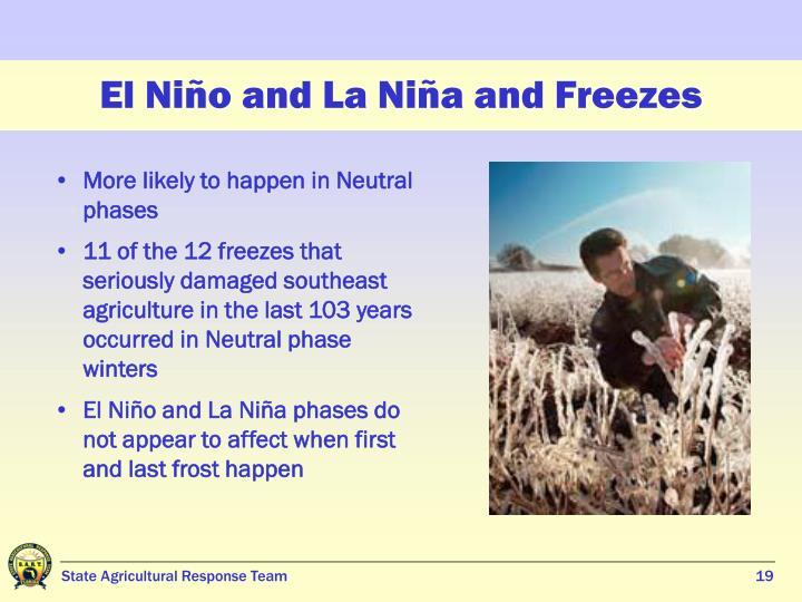 El Niño and La Niña and Freezes