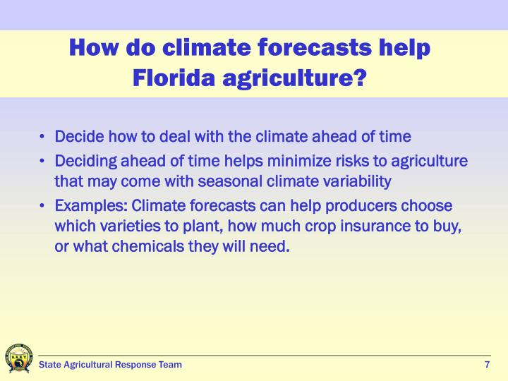 How do climate forecasts help Florida agriculture?