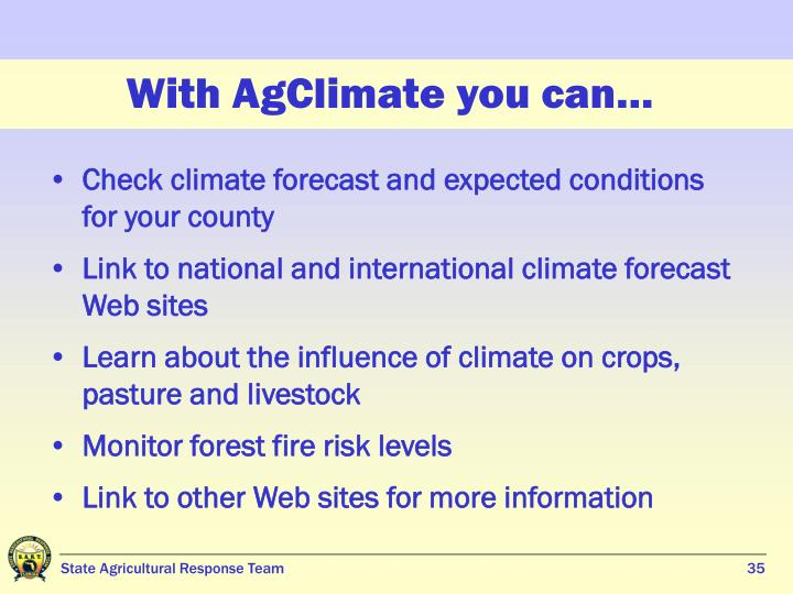 With AgClimate you can…