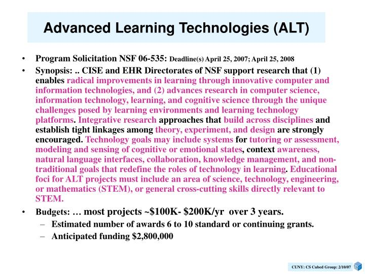 Advanced Learning Technologies (ALT)
