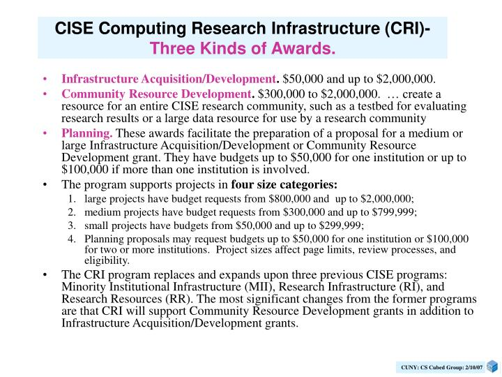 CISE Computing Research Infrastructure (CRI)-