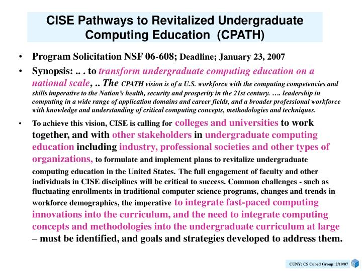 CISE Pathways to Revitalized Undergraduate Computing Education  (CPATH)
