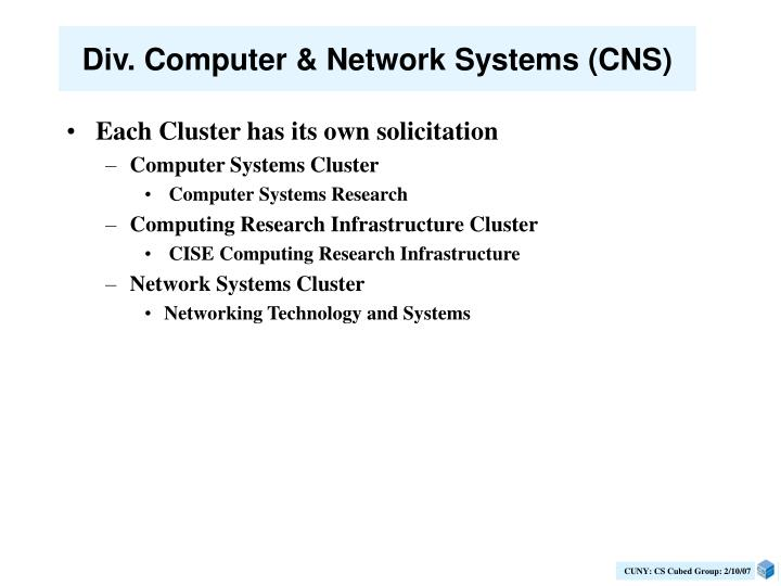 Div. Computer & Network Systems (CNS)