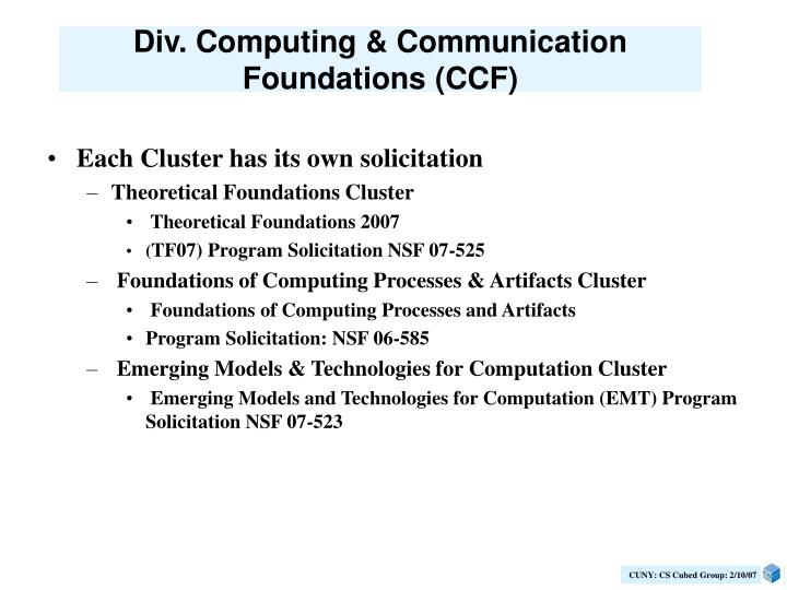 Div. Computing & Communication Foundations (CCF)