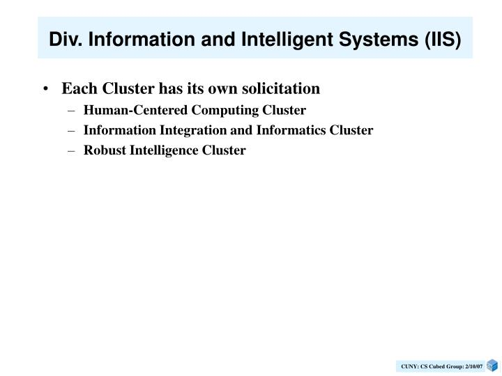 Div. Information and Intelligent Systems (IIS)