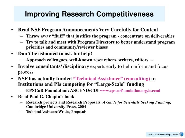 Improving Research Competitiveness