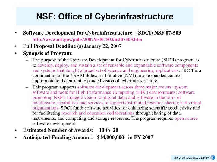NSF: Office of Cyberinfrastructure