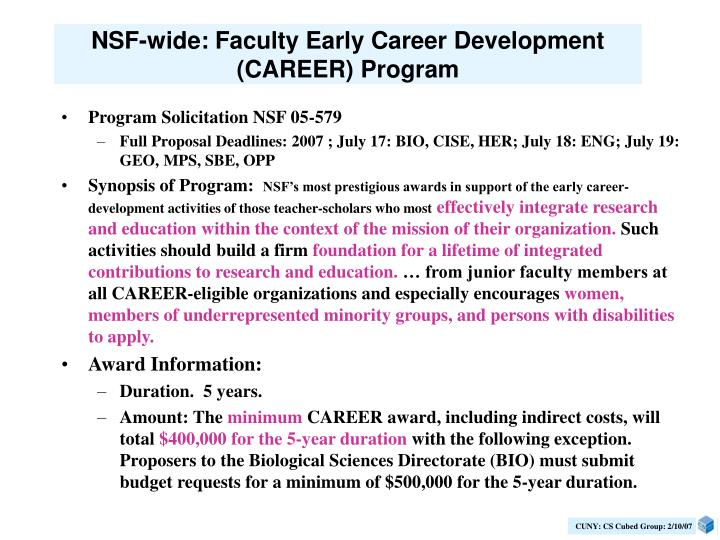NSF-wide: Faculty Early Career Development (CAREER) Program