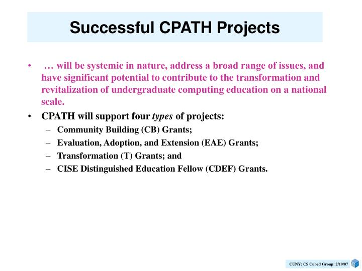 Successful CPATH Projects