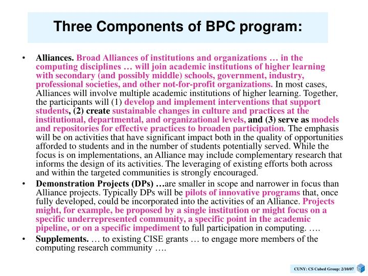 Three Components of BPC program: