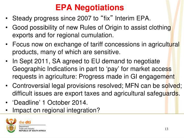 EPA Negotiations