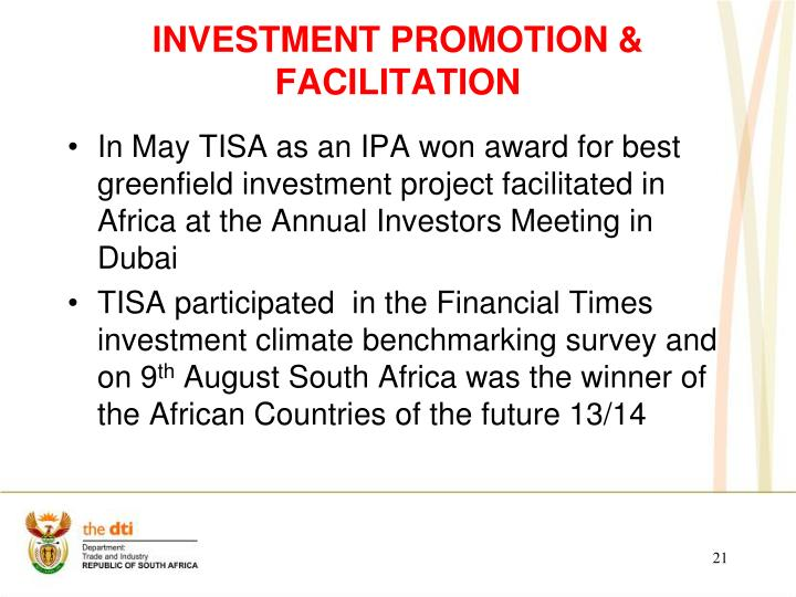 INVESTMENT PROMOTION & FACILITATION