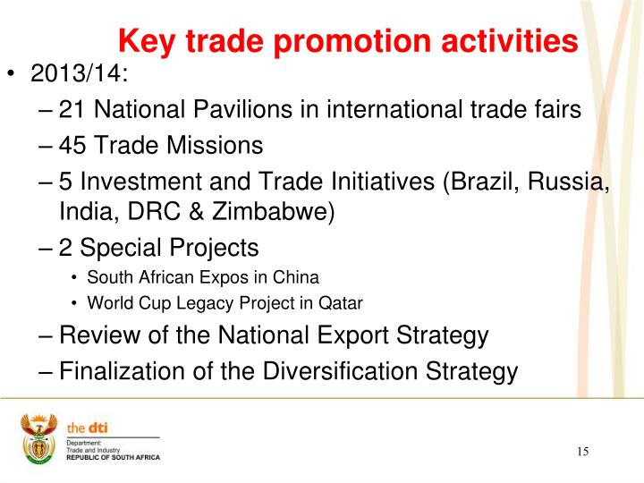 Key trade promotion activities