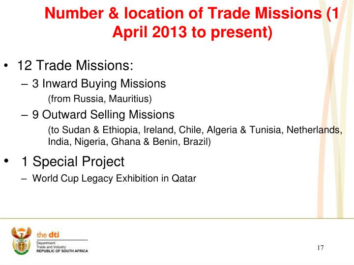 Number & location of Trade Missions (1 April 2013 to present)