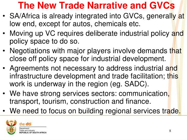 The New Trade Narrative and GVCs