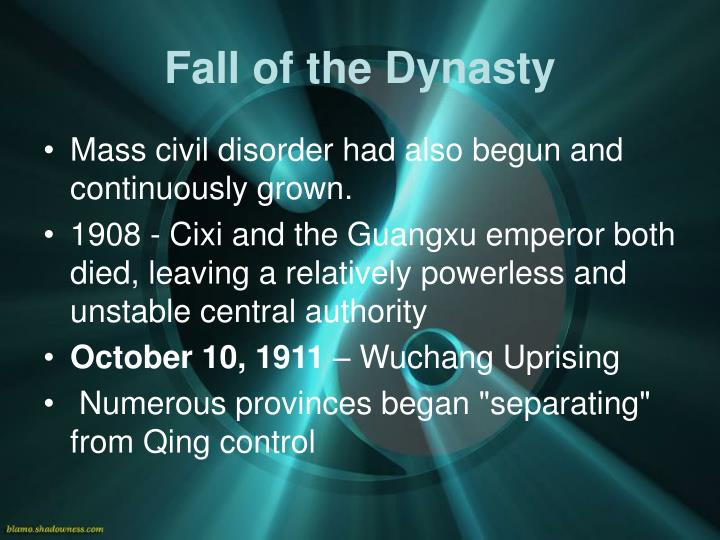 fall of the qing dynasty After the fall of the qing dynasty, the chinese began to question the values of _____, which taught that in life and government, the inferior should - 3025949.