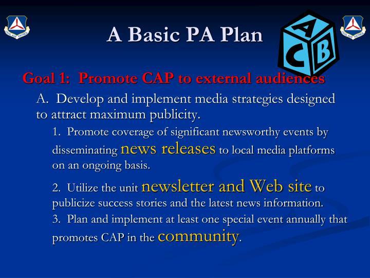 A Basic PA Plan