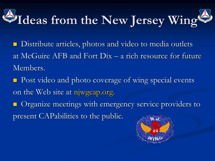 Ideas from the New Jersey Wing