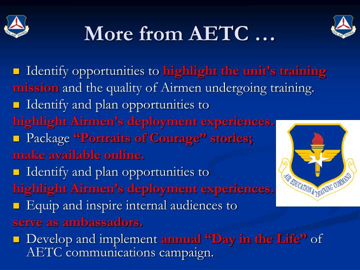 More from AETC …