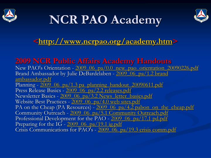 NCR PAO Academy
