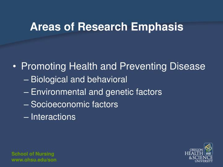 Areas of Research Emphasis